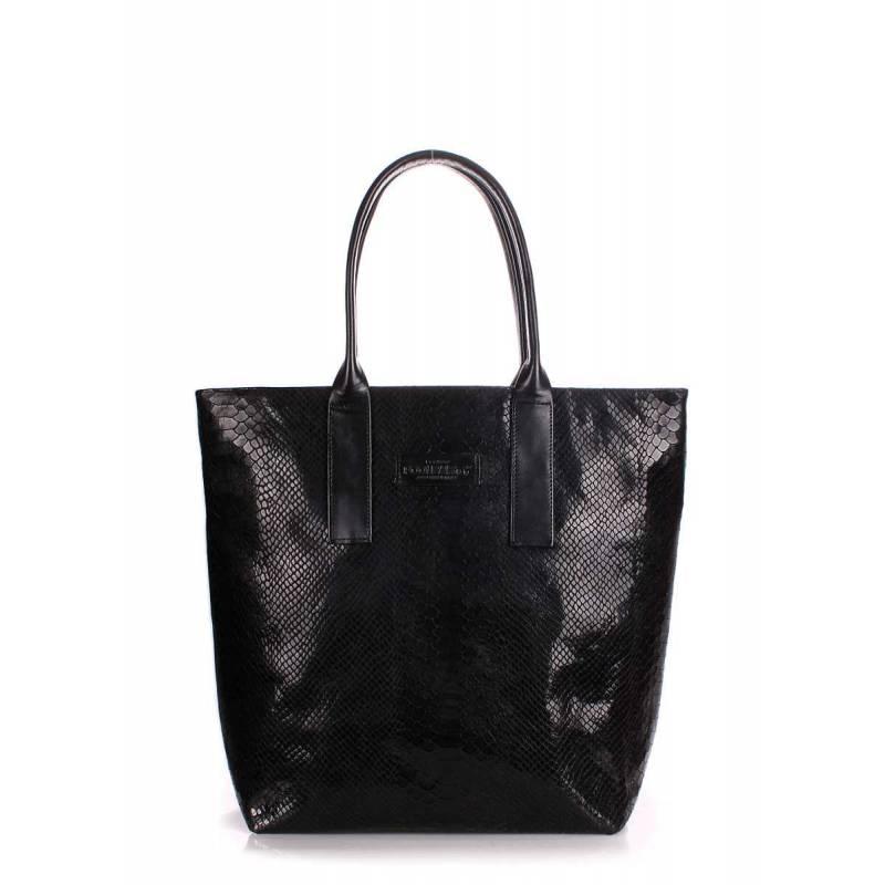 Кожаная сумка POOLPARTY Adore Snake Black