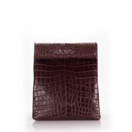 Кожаная сумка-клатч POOLPARTY Aligator Lunchbox Brown