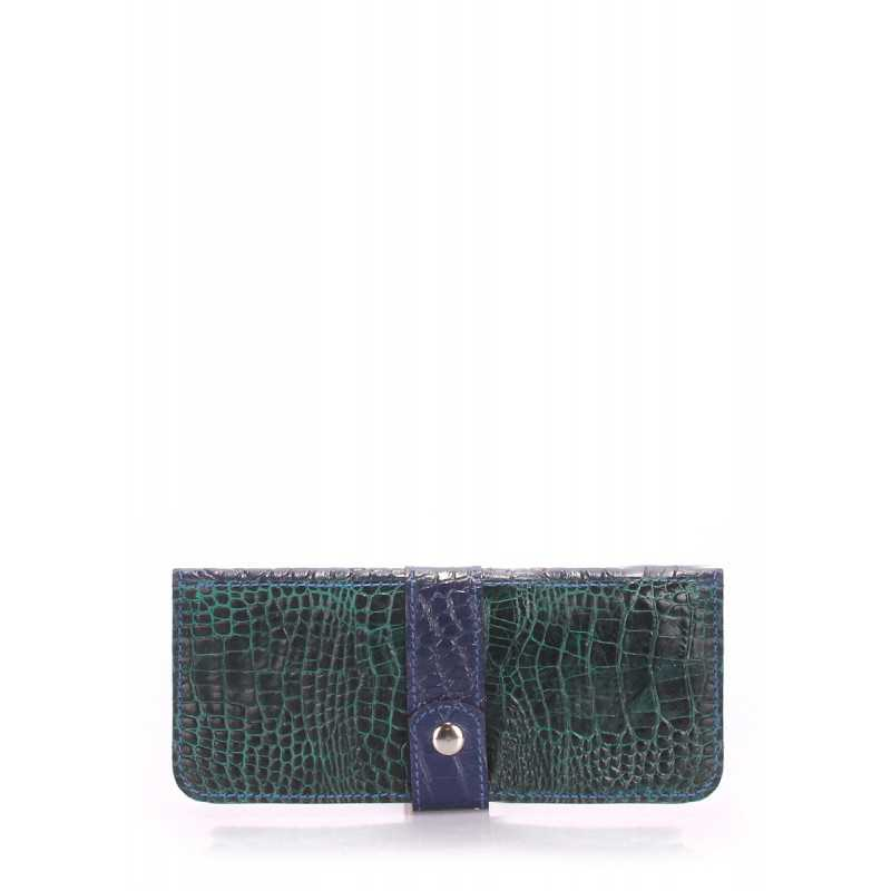 Кошелек POOLPARTY Billfold Croco Green Blue