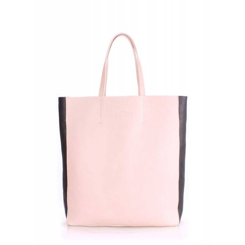 Кожаная сумка POOLPARTY City2 Beige Black