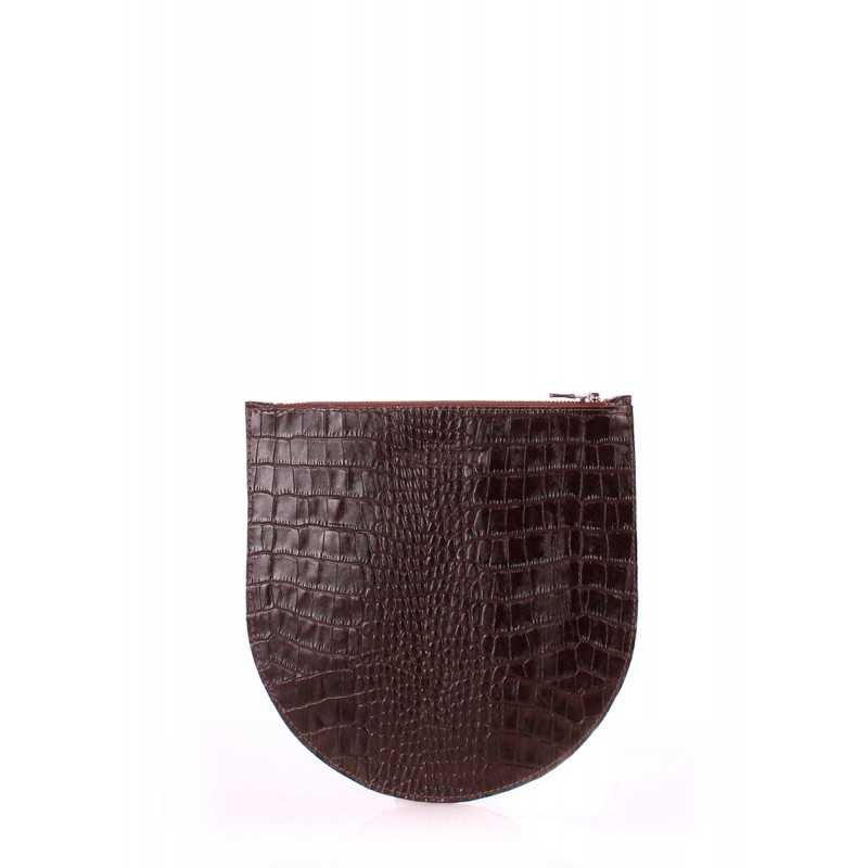 Кожаная косметичка-клатч POOLPARTY Cosmetic pp1 Croco Brown