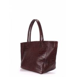 Кожаная сумка POOLPARTY Desire Caiman Brown