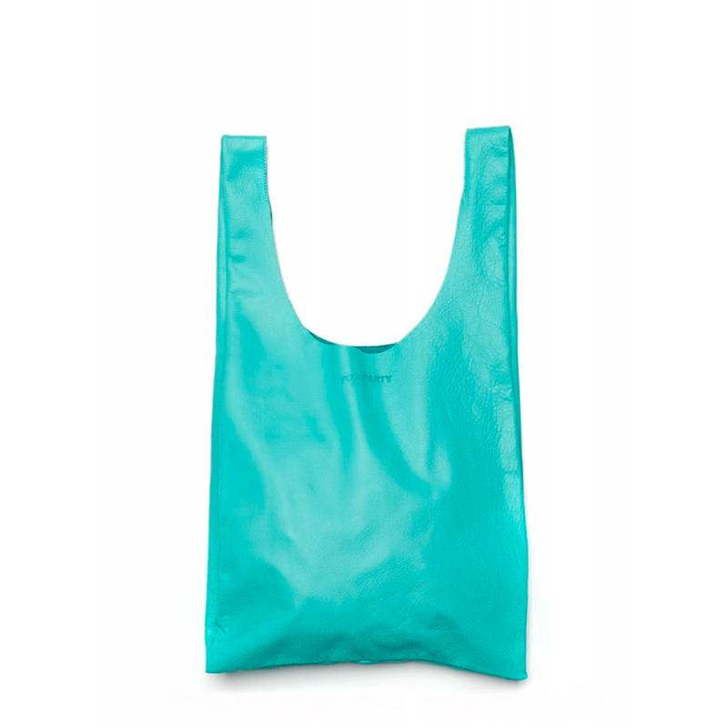 Кожаная сумка POOLPARTY Leather Tote blue