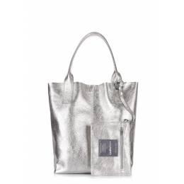 Женская кожаная сумка PODIUM silver