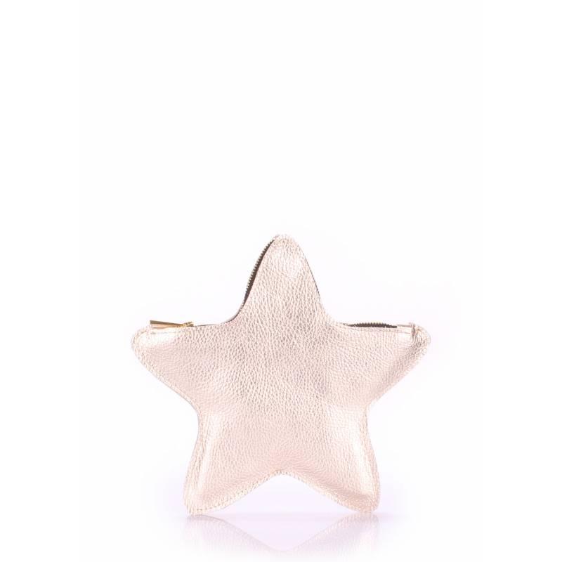 Кожаный клатч-косметичка POOLPARTY Star Gold