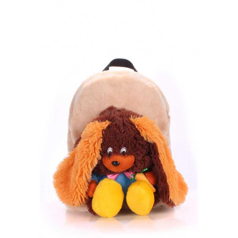 Детский рюкзак POOLPARTY с зайцем Kiddy Backpack Rabbit Brown