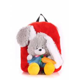 Детский рюкзак POOLPARTY с зайцем Kiddy Backpack Rabbit Red