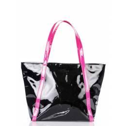 Женская лаковая сумка с розовыми ручками Pool91 Black Pink