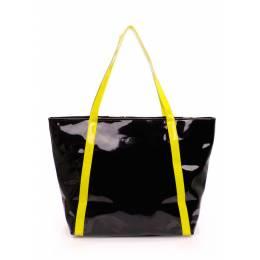 Женская лаковая сумка с желтыми ручками pool91 Black Yellow