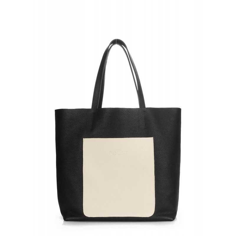 Кожаная сумка POOLPARTY Mania Black Beige