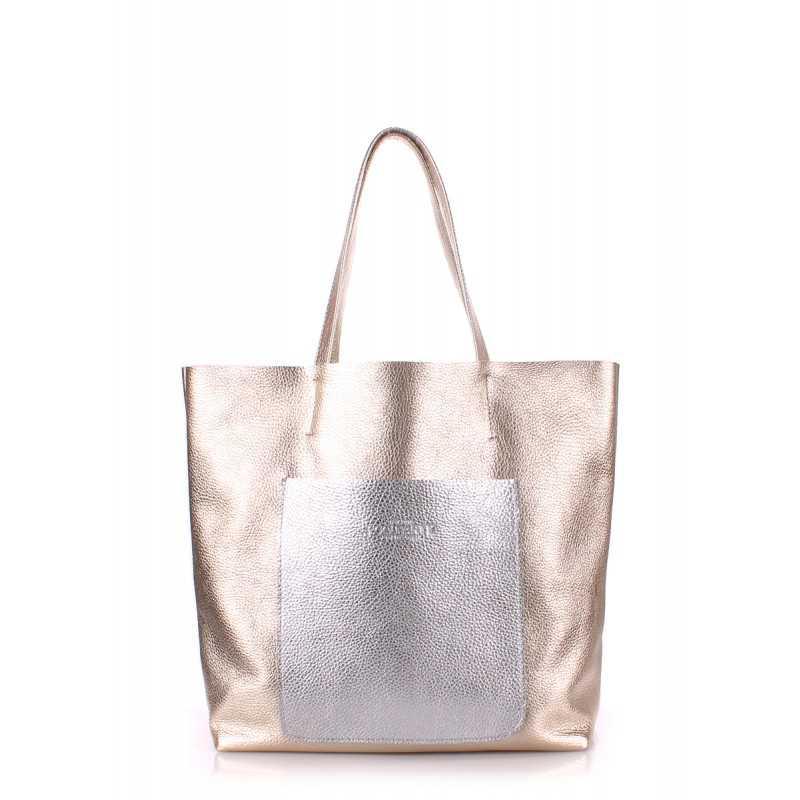 Кожаная сумка POOLPARTY Mania Golden Silver