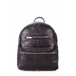 Женский кожаный рюкзак POOLPARTY Mini Bckpck Leather Croco Black