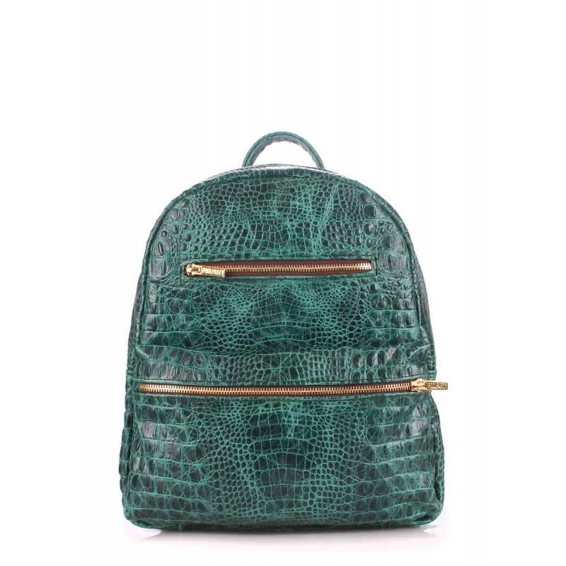 Женский кожаный рюкзак POOLPARTY Mini Bckpck Leather Croco Green