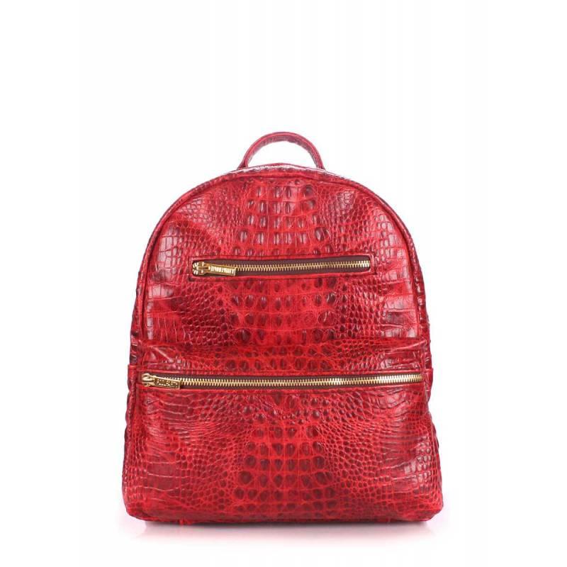 Женский кожаный рюкзак POOLPARTY Mini Bckpck Leather Croco Red