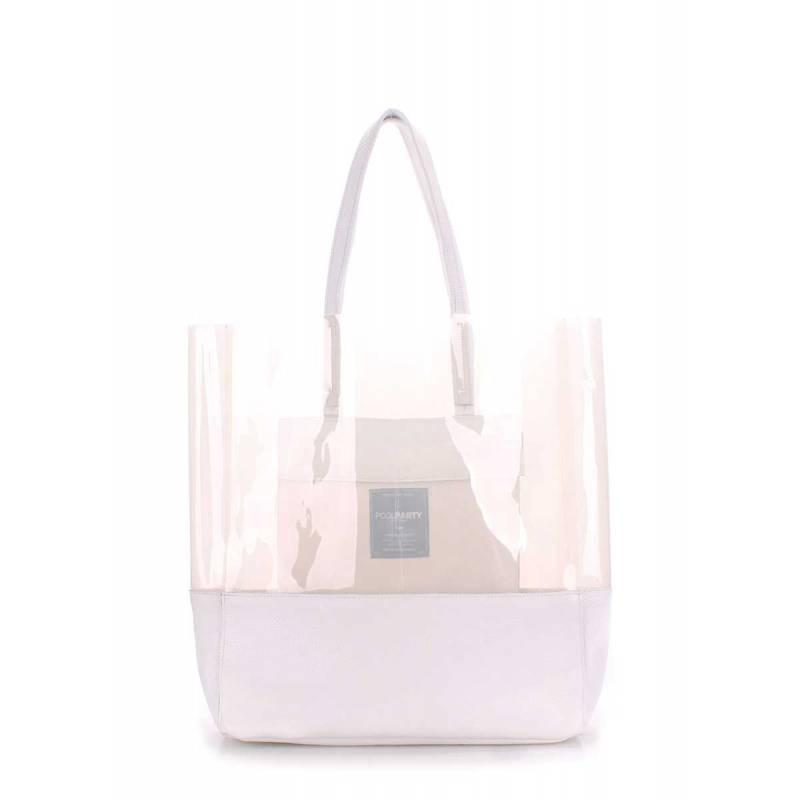 Прозрачная кожаная сумка POOLPARTY City Carrie White