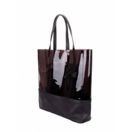 Прозрачная кожаная сумка POOLPARTY City Carrie Black