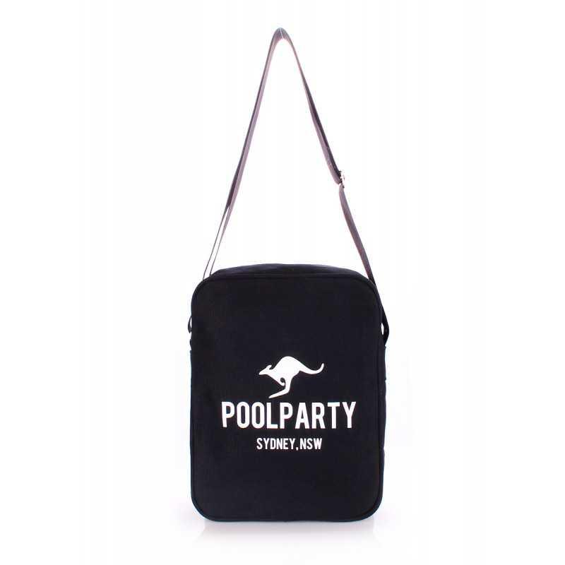 Мужская сумка POOLPARTY с ремнем на плечо Pool18 Black