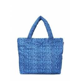 Дутая сумка POOLPARTY с вязкой Pool 68 Blue Sweater