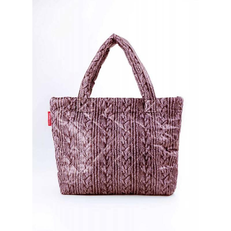 Дутая сумка POOLPARTY с вязкой Pool 68 Brown Sweater