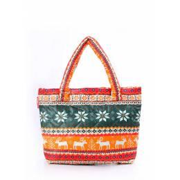 Дутая сумка POOLPARTY с оленями Pool 69 Green Orange