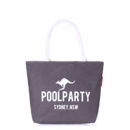 Коттоновая сумка POOLPARTY Pool 9 Grey