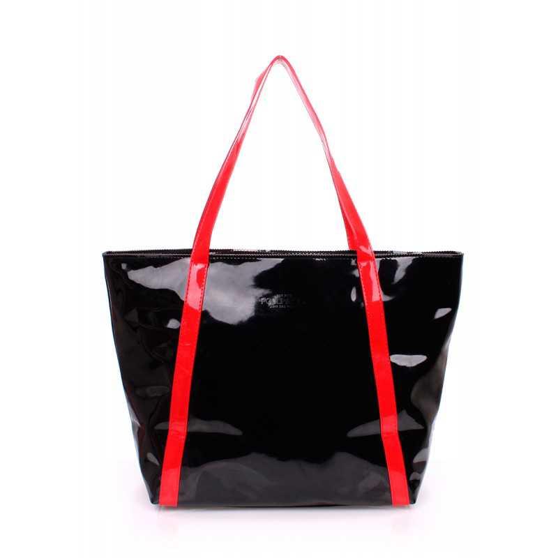 Женская лаковая сумка с красными ручками pool91 Black Red