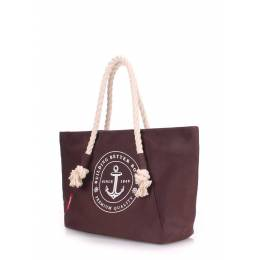 Коттоновая сумка POOLPARTY с принтом Breeze Brown