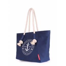 Коттоновая сумка POOLPARTY с принтом Breeze Darkblue