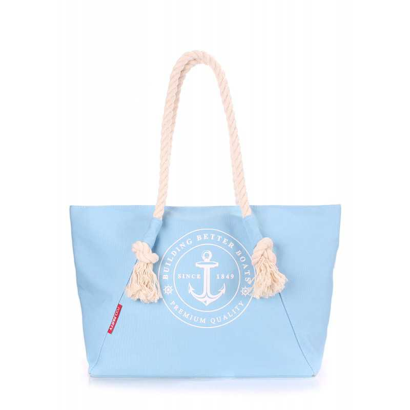 Коттоновая сумка POOLPARTY с принтом Breeze Lightblue
