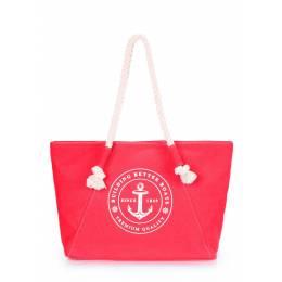 Коттоновая сумка POOLPARTY с принтом Breeze Red