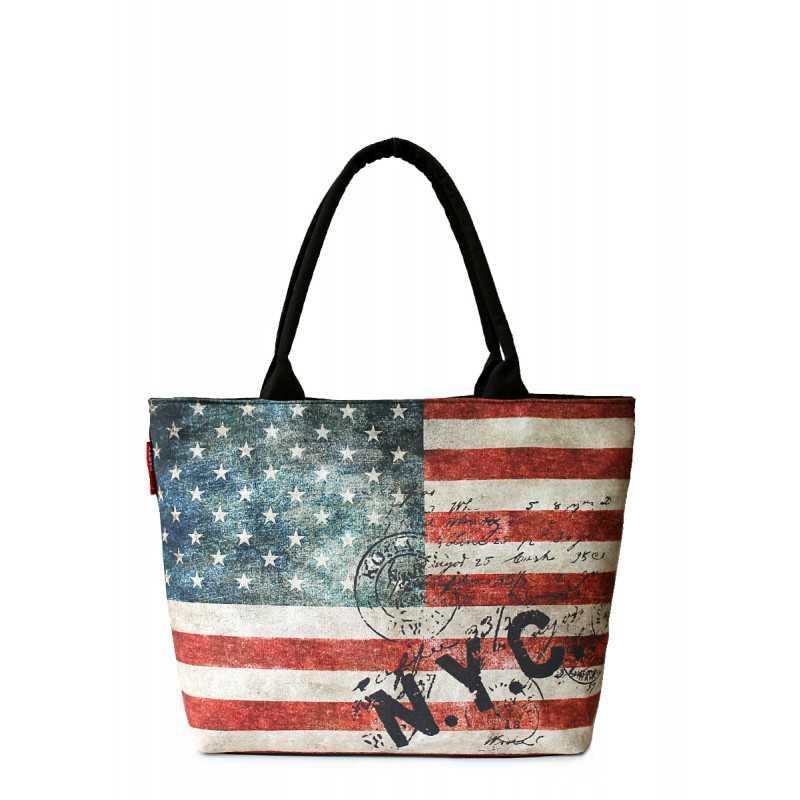 Коттоновая сумка POOLPARTY с принтом Journey NYC