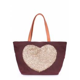 Коттоновая сумка POOLPARTY Love Tote Brown