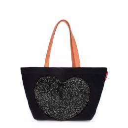Коттоновая сумка POOLPARTY Love Tote Doubleblack