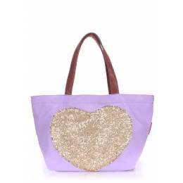 Коттоновая сумка POOLPARTY Love Tote Lilac