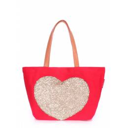 Коттоновая сумка POOLPARTY Love Tote Red