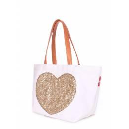 Коттоновая сумка POOLPARTY Love Tote White