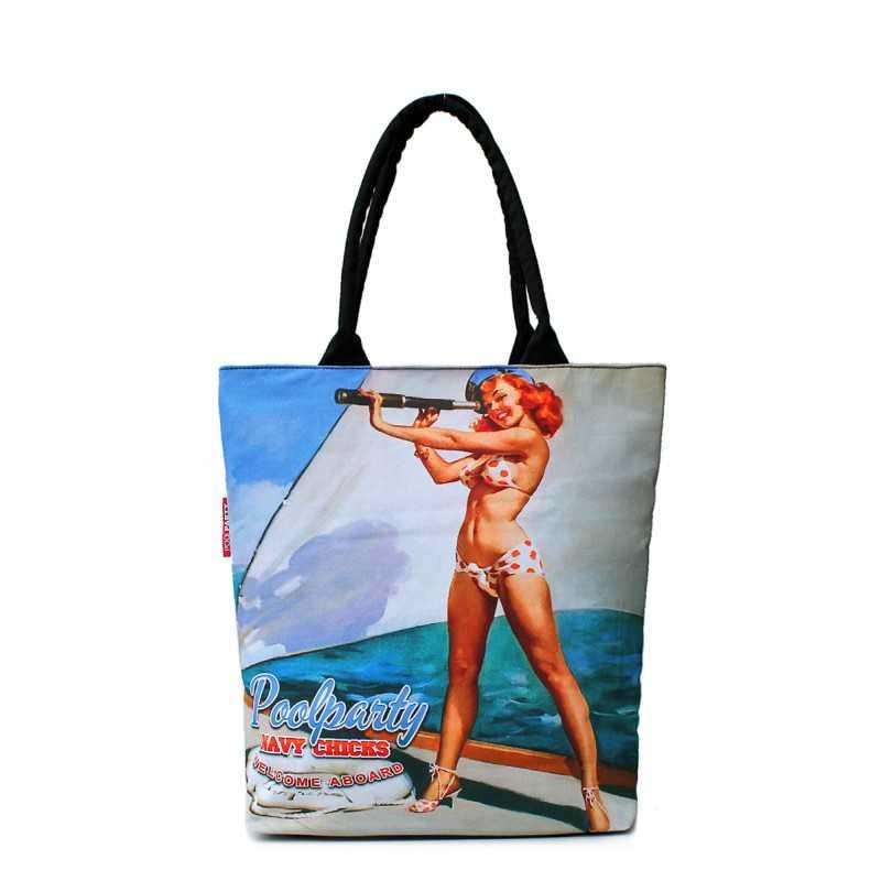 Коттоновая сумка POOLPARTY с принтом  Navy Chicks