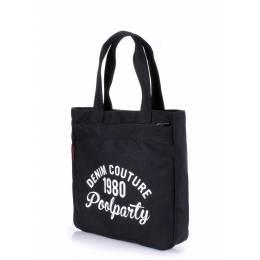 Коттоновая сумка POOLPARTY Oldschool Black