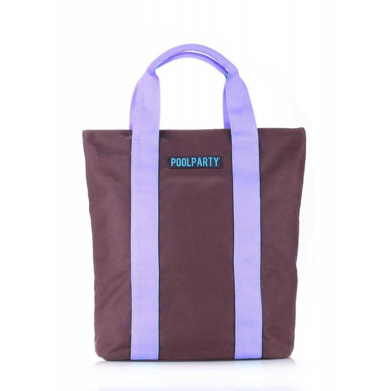 Коттоновая сумка POOLPARTY Pool81 Brown Lilac