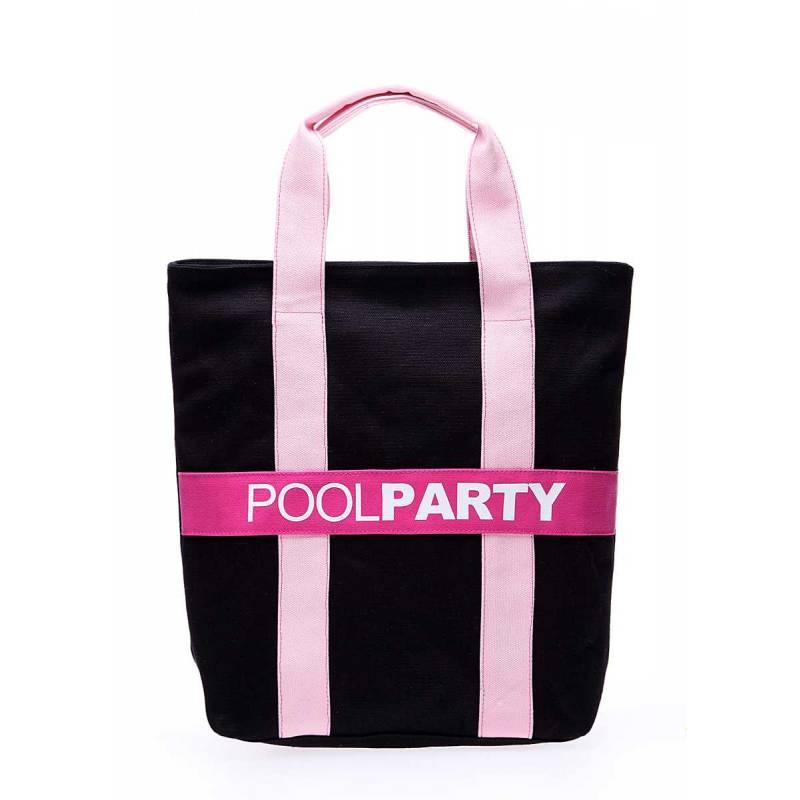 Коттоновая сумка POOLPARTY Pool82 Black Pink