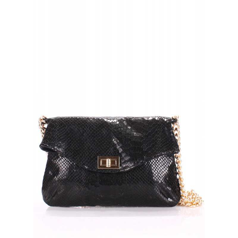 Кожаная сумочка-клатч с цепочкой POOLPARTY Black Snake Clutch
