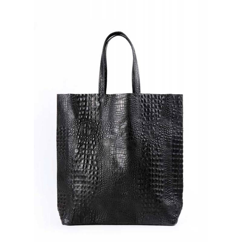 Кожаная сумка POOLPARTY City Croco Black