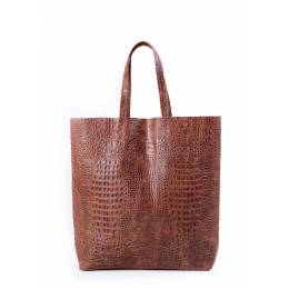 Кожаная сумка POOLPARTY City Croco Brown