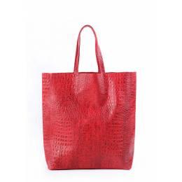 Кожаная сумка POOLPARTY City Croco Red