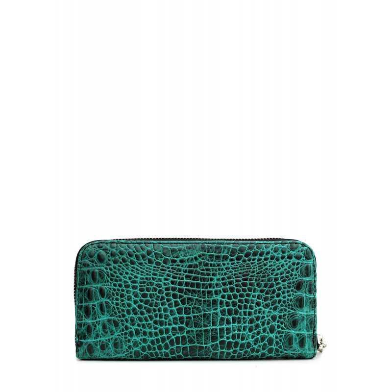 Кожаный кошелек POOLPARTY Crocodile Wallet Green