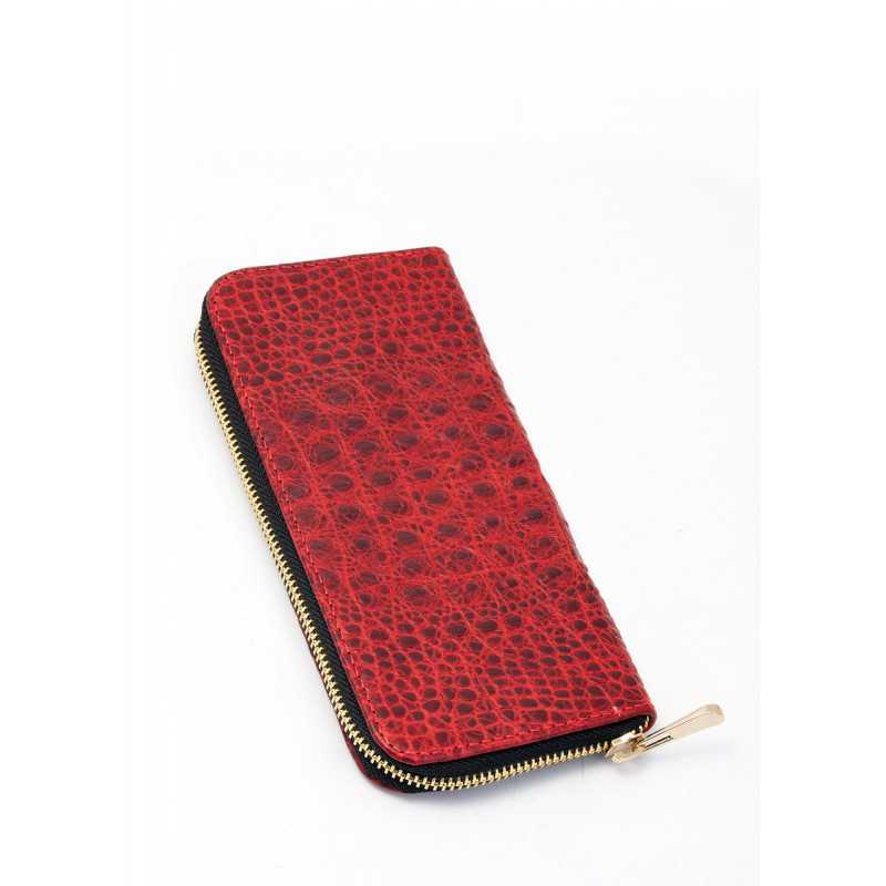 Кожаный кошелек POOLPARTY Crocodile Wallet Red
