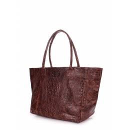 Кожаная сумка POOLPARTY Desire Croco Brown
