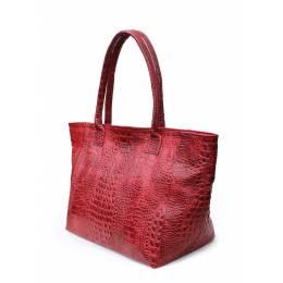 Кожаная сумка POOLPARTY Desire Croco Red