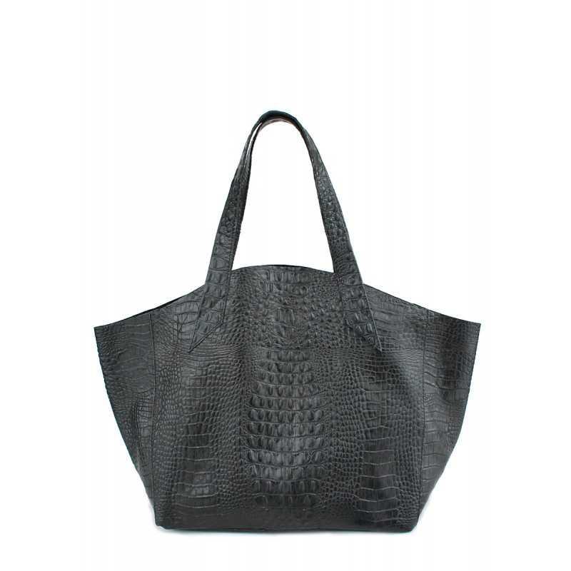 Кожаная сумка POOLPARTY Fiore Crocodile Black