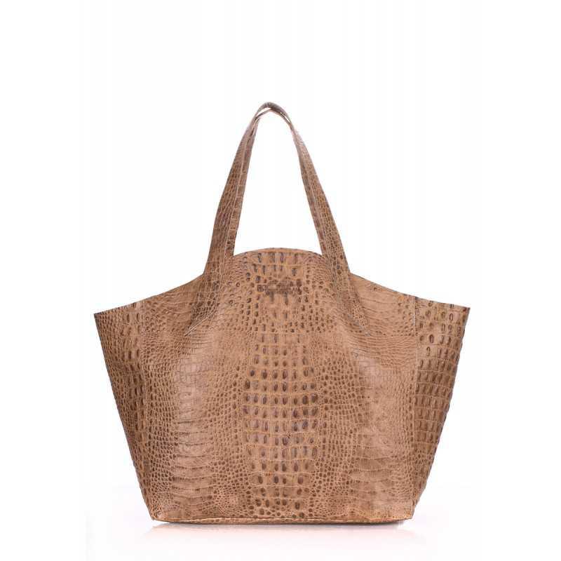 Кожаная сумка POOLPARTY Fiore Crocodile Beige